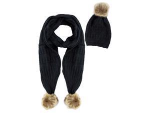Black 2-Piece Knit Slouch Beanie & Scarf Set With Fur Pom-Poms