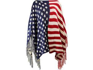 American Flag Print Knit Poncho Shawl With Fringe