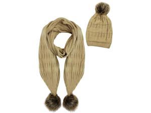 Beige 2-Piece Knit Slouch Beanie & Scarf Set With Fur Pom-Poms