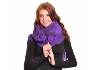 Purple Faux Fur Long Winter Scarf With Fringe