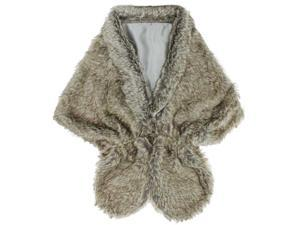 Gray Solid Faux Fur Plush Shawl Wrap With Satin Lining