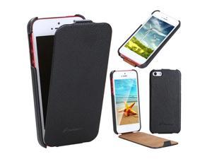 Fashion Luxury Flip Genuine Leather Slim Case Cover for iPhone 5 Black