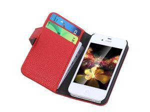 Fashion Wallet Case Flip Leather Stand Cover with Card Holder for iPhone 4 4s 4g Red