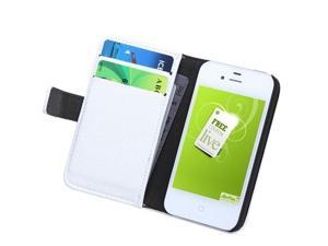 Fashion Wallet Case Flip Leather Stand Cover with Card Holder for iPhone 4 4s 4g White