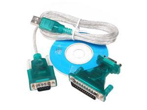USB 2.0 to 9/25 pin Serial RS232 Cable DB9/DB25 Adapter