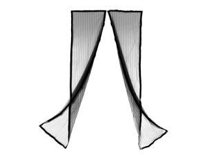Hands-free Magic Mesh Magnetic Screen Door Curtain Anti-Mosquito Bug Black