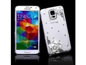 PC Hard Back Case Protective Shell Bling Diamond Rhinestone Crystal for Samsung Galaxy S5 i9600 White Camellia