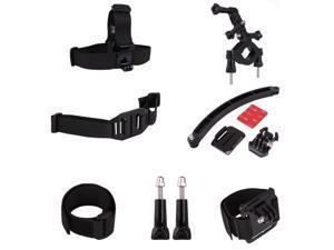 Andoer 7 in 1 Riding Accessory Set Helmet Front Mount Strap Velcro Belt Wrist Band Head Strap Long Thumb Knob Motorbike Roll Bar Mount for Gopro HERO 1 2 3 3+