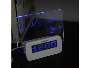 LED Digital Fluorescent Message Board Clock Alarm Temperature Calendar Timer USB Hub Blue Light