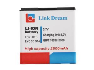 Link Dream 33.7V 2600mAh Rechargeable Li-ion Battery High Capacity Replacement for HTC EVO 3D G14 G18 G21