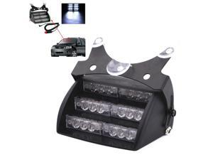 White 18 LED 12V Strobe Emergency Flashing Warning Light + Car Cigarette Adapter