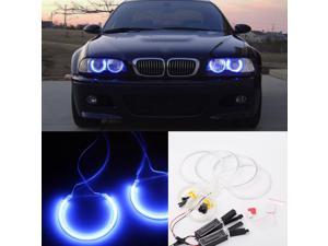4PCS Reflector CCFL Angel Eye Rings 6000K Halo Light Lamp Kit for BMW 3 SERIES E46 Blue/White