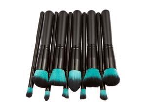 Professional 10pcs Makeup Brush Set Powder Foundation Brush Cosmetic Tools Blue Black