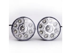 Pair 12V 9-LEDs Round Daytime Driving Running Light DRL Fog Lamp White