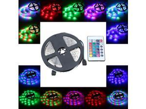 LIXADA LED RGB Strip Light SMD 3528 Flexible Light 60LEDs/m 5m/lot with 24key RF Remote Controller and 12V 2A Adapter for Bar Hotel Restaurant