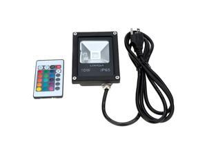 LIXADA Real Power 10W 85-265V AC IP65 Ultrathin LED Flood Light with Wire US Plug Remote Control Outdoor Garden Tunnel Square Yard Landscape Lighting CE RoHs