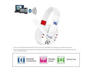 Pro V8 Bluetooth 4.0 Stereo Headset Wireless Gaming HiFi Headphone Handsfree Earphones With Adjustable Headband White With Mic
