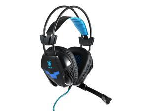 SADES A30S Gaming Headphone with Mic USB Professional Over Ear Stereo Gaming Headset with LED Noise Cancellation & Wonderful Sound Effect Music Earphones Black with Blue for Desktop Notebook Laptop