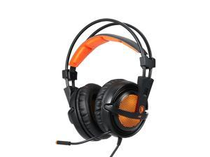 SADES A6 Gaming Headphone with Mic LED Noise Cancellation & Wonderful Sound Effect Music Earphones Black with Orange for Desktop Notebook Laptop