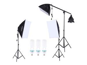 Andoer Professional Photography Photo Lighting Kit Set with 5500K 135W Daylight Studio Bulb Light Stand Square Cube Softbox Cantilever Bag
