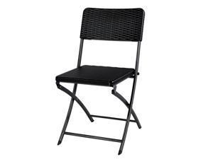 IKAYAA 2PCS Portable Outdoor Patio Folding Chair Indoor Dining Garden Party Beach Camping Kitchen Stool Patio Furniture