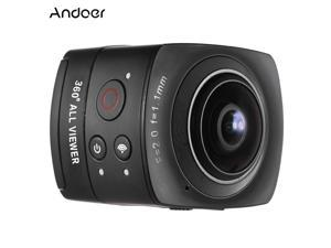 Andoer Panorama 360° VR Video Camera Full HD 1440P 1080P 30FPS 8MP Sports Action IP Camera 220° Fisheye Wide-angle Lens Dome Wifi  Virtual Reality System Split-screen Up-down Flip Display