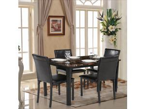 IKAYAA 5PCS Modern Kitchen Dining Room Table Chair Set for 4 Person Beautiful Marble-like Top Max 180kg Load Capacity