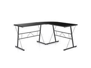 IKAYAA Modern L-shaped Corner Computer Desk PC Laptop Table Office Workstation Tempered Glass Top 100KG Load Capacity Home Office Desks Furniture