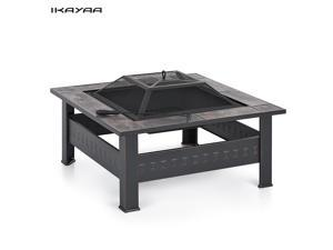 IKAYAA High-quality Metal Garden Backyard Fire Pit Patio Square Firepit Stove Brazier Outdoor Fireplace W/ Mesh Firepit Cover & Poker