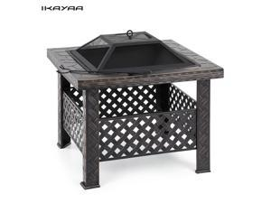 IKAYAA High-quality Metal Garden Backyard Fire Pit Patio Square Firepit Stove Brazier Outdoor Fireplace W/ Firepit Cover & Poker