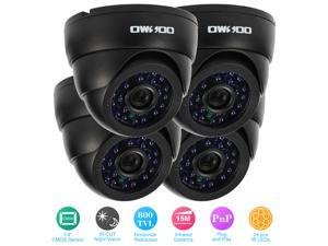 OWSOO 4pcs 800TVL Indoor IR-CUT Night View CCTV Analog Camera + 4*60ft Video Cable Plug and Play for Security Surveillance System