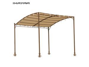 IKAYAA 3*2.5*2.5M Metal Patio Garden Wall Gazebo Canopy Awning Door Porch Marquee Sun Shelter 160g Polyester Roof