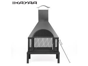 iKayaa Large Garden Outdoor Fire Pit Chimenea Metal Backyard Heater Fireplace Patio Chimney Wood Burner 600? Heat-resistant With Poker