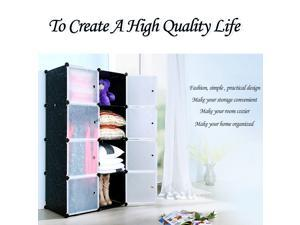 IKAYAA Fashion Multi-use Clothes Closet Wardrobe Cabinet DIY Cloth Shoes Storage Organizer