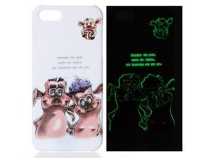 Glow in the Dark Cartoon Pig Hard Back Case Skin Cover for Apple iPhone 5 5G 5th