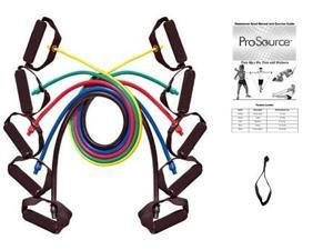ProSource set of 5 resistance bands with door attachment, carrying case, and training manual