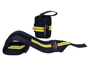 ProSource Pair of Barbell Weight Lifting Wrist Wraps Support with Thumb Loop, Yellow