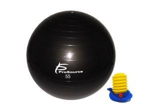 ProSource Stability Exercise Ball with Foot Pump, Black 55, 65 cm or 75 cm, Anti-Burst up to 2,000 lb. for Fitness, Pilates, Balance, and Yoga
