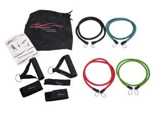 ProSource Stackable Resistance Bands 11-Piece Set with Extra Large Handles, Door Anchor, Ankle Straps, Exercise Guide and Carrying Case