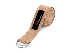 ProSource Metal D-Ring Yoga Strap 8' Durable Cotton for Stretching and Flexibility