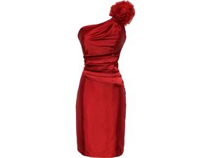 One Shoulder Satin Sheath Formal Dress with Florettes Prom Gown Junior Plus Size