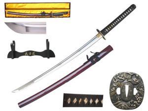 41 inch Musha  Hand Forged Samurai Sword, Funjin Series, Burgundy Dragon