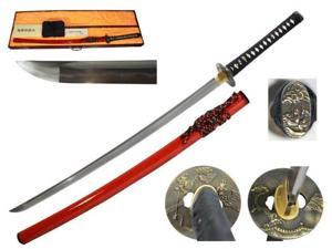 40 1/2 inch Musashi Gold Collection Masaru Series Hand Forged Samurai Sword, Burgundy