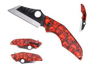 """3 1/2"""" Red skull spring assisted handle"""