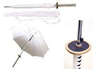 "41"" Choju (longevity) white samurai handle umbrella"