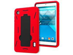 Alcatel OneTouch Pop 7 P310a Drop Protection Hybrid Case Full Body Silicone Plastic Cover featuring Built-In Kickstand - Black / Red by KIQ