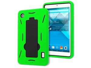 Alcatel OneTouch Pop 7 P310a Drop Protection Hybrid Case Full Body Silicone Plastic Cover featuring Built-In Kickstand - Black / Green by KIQ