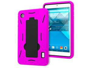 Alcatel OneTouch Pop 7 P310a Drop Protection Hybrid Case Full Body Silicone Plastic Cover featuring Built-In Kickstand - Black / Hot Pink by KIQ