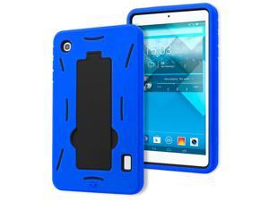Alcatel OneTouch Pop 7 P310a Drop Protection Hybrid Case Full Body Silicone Plastic Cover featuring Built-In Kickstand - Black / Blue by KIQ