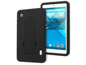 Alcatel OneTouch Pop 7 P310a Drop Protection Hybrid Case Full Body Silicone Plastic Cover featuring Built-In Kickstand - Black / Black by KIQ